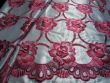 最高級! シロの光沢感のあるサテン地にチェリーピンクの大柄な花柄のボーダー柄 ドレスレース 1M