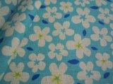 メッチャ可愛いフラワー柄の綿麻キャンパス地 ブルー 1M
