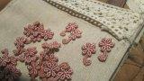 在庫処分!可愛い花柄 ローズピンクのコットンケミカルのアップリケレース 50枚入り