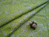 生地幅93cシルバー地に若草色のドレス生地・2M