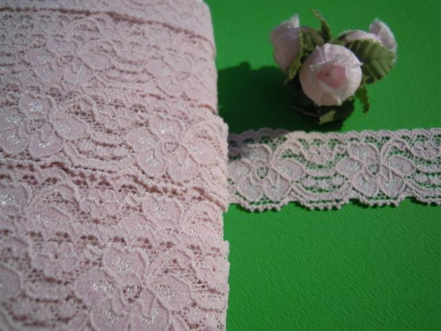 画像1: 幅2.5c インナーピンク色のラッセルストレッチ 10M