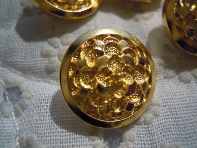 画像1: 15mm エレガントなゴールドカラーボタン 4個入り