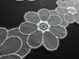メッチャ!エレガントなシルバー!可愛い花柄のオーガンジレース 50c(プロパー商品)