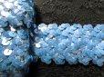 画像1: 幅約4c ゴージャスでお買い得なストレッチスパンコールブレード ブルー 1.5M (1)