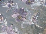 最高級!シロ地にパープルとゴールドの花柄の広幅オーガンジレース  1M