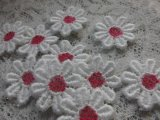 手作りマスのアクセントとして人気です。人気のコットン・花柄のケミカルモチーフレース ピンク 25枚