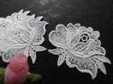 メッチャエレガントな薔薇柄 人気のコットン・ケミカルのアップリケレース 4枚