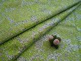生地幅93cシルバー地に若草色のドレス生地  2M