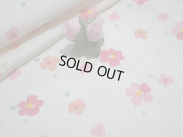 画像1: ピンクの小花のピケワッフル 2M