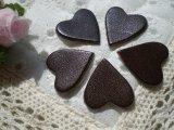 約2c 日本製 チョコ色のヌメ皮 ハート柄モチーフ 5個入り