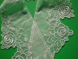 薔薇柄のテーラー衿 オフシロのエレガントなオーガンジの襟レース