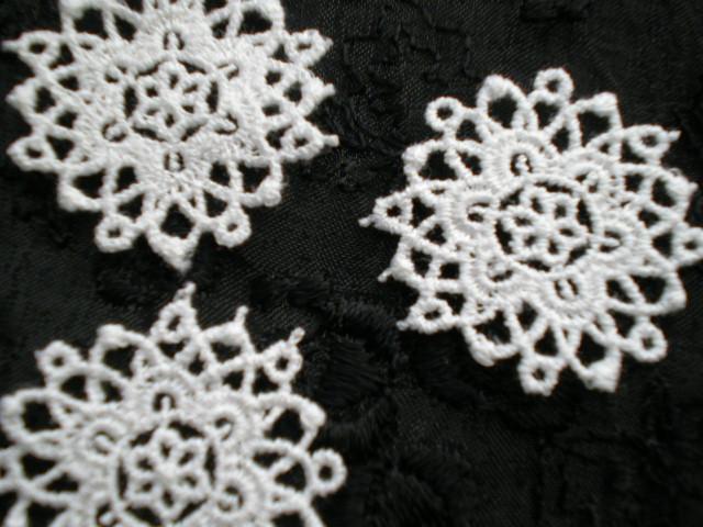 画像1: 人気のサークル柄 綿のコットンケミカルのアクセサリーレース 50センチ