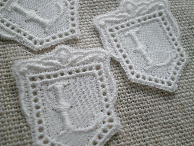 画像1: L 綿の繊細なプチイニシャルモチーフ 3枚入り