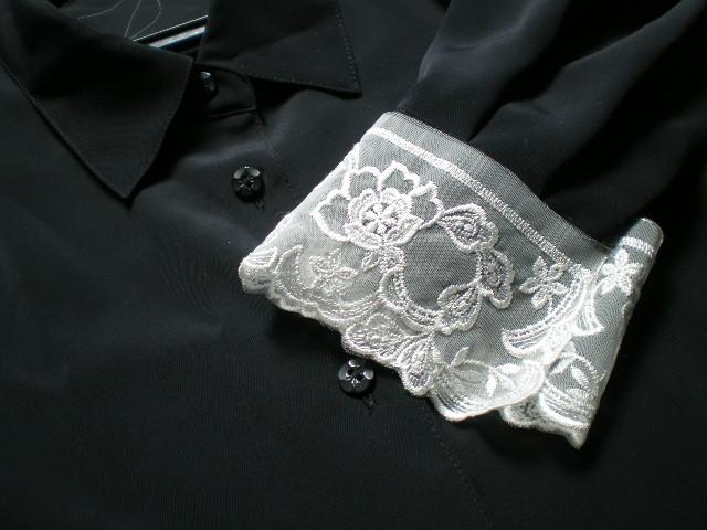 画像1: アイデア次第で・・・オフシロのエレガントな付け袖、オーガンジレース 2枚入り