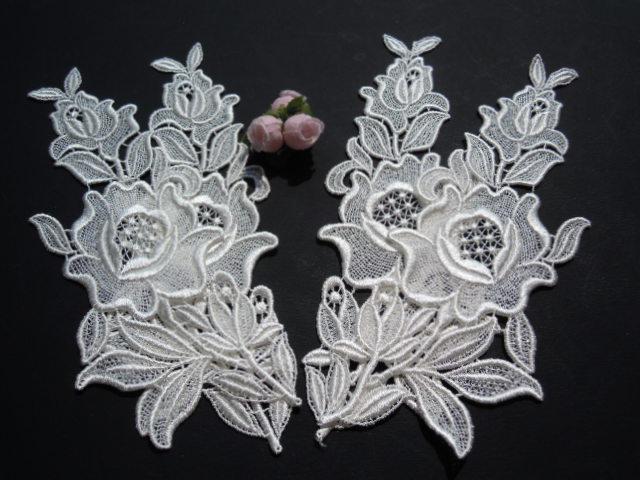 画像3: 人気の花柄 オフシロのケミカルのアップリケレース 2組4枚入り