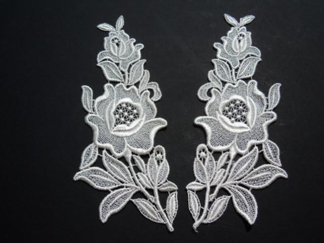 画像2: 人気の花柄 オフシロのケミカルのアップリケレース 2組4枚入り