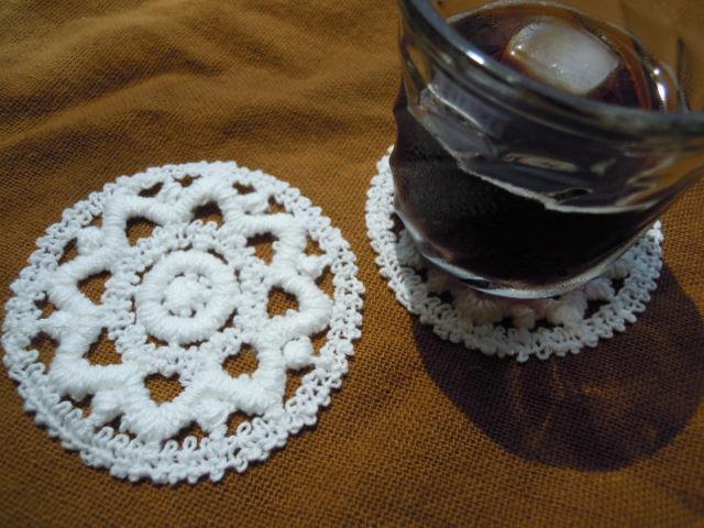画像1: お買い得なエレガントな綿のコースターレース 2枚