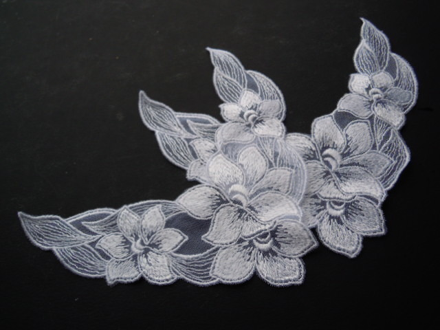 画像3: 人気の花柄 シロのチュールアップリケレース 2枚入り
