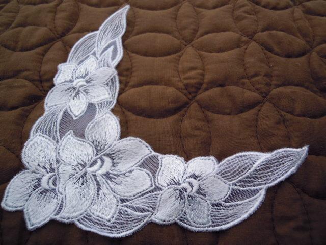 画像2: 人気の花柄 シロのチュールアップリケレース 2枚入り