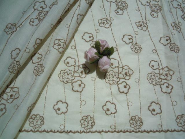 画像2: レース工房☆太陽のオリジナル商品!!! 可愛い花柄 綿のレース キナリ色Xモカ 1.5M