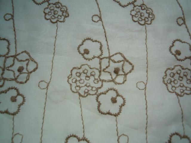 画像1: レース工房☆太陽のオリジナル商品!!! 可愛い花柄 綿のレース キナリ色Xモカ 1.5M