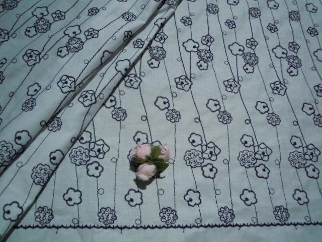画像2: レース工房☆太陽のオリジナル商品!!! メルヘンチックな花柄 綿のレース 淡い々ブルーXクロ 1.5M