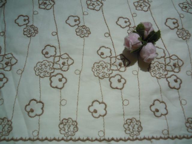 画像3: レース工房☆太陽のオリジナル商品!!! 可愛い花柄 綿のレース キナリ色Xモカ 1.5M