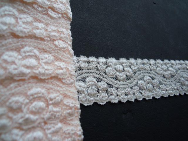 画像2: エレガントな淡いサーモンピンクの花柄 ストレッチレース 10M