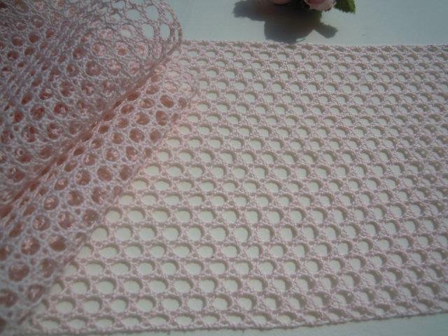 画像1: 値下げしました!!!幅約11c 人気の淡いピンクの綿メッシュトーションレース 5M