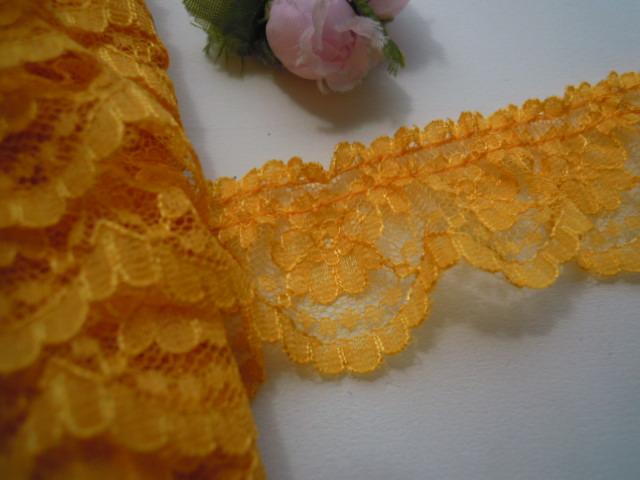 画像2: 幅約3.5c 人気のマスタード色の小花柄のフリル 4M