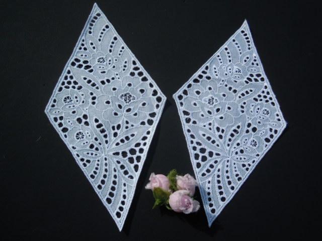 画像3: シロの花柄の綿モチーフレース  1組2枚