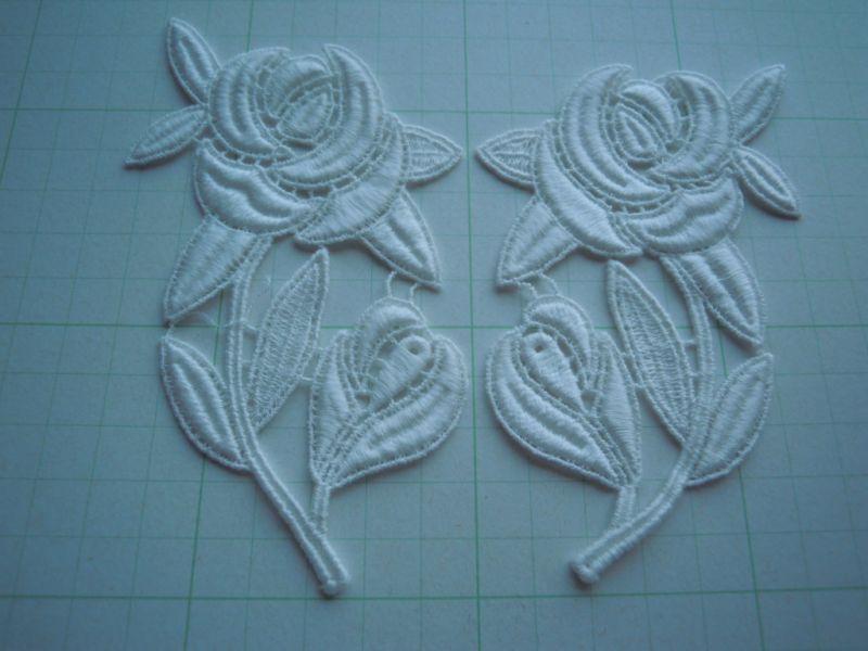 画像2: オフシロの薔薇柄の綿ケミカルのモチーフ 2組4枚入り