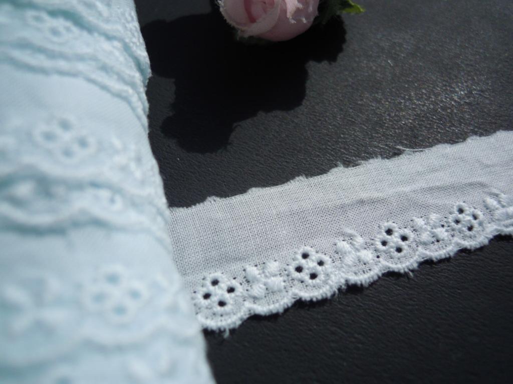 画像1: メッチャ可愛い綿レース 淡いブルー 6M