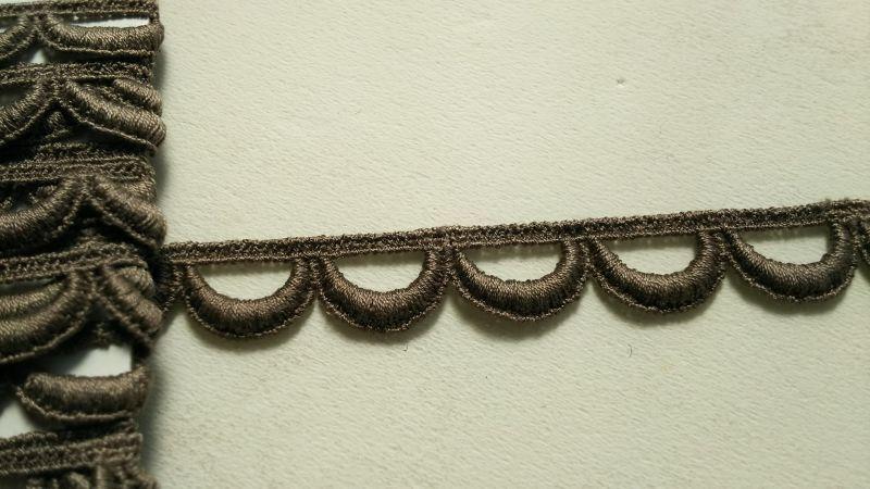 画像2: メッチャお買い得!繊細なコットン チャ色のケミカルレース 3M