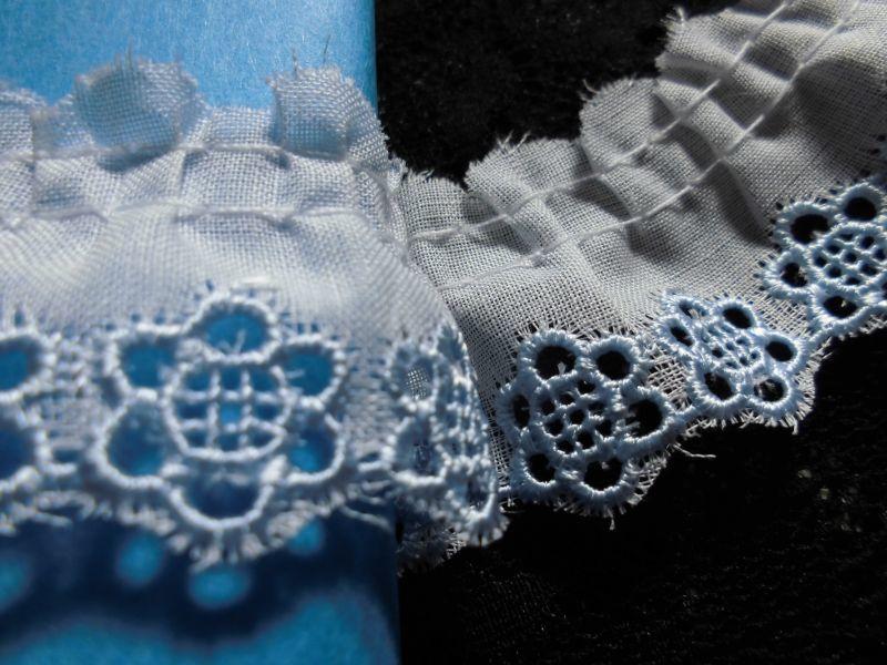 画像2: 幅約3c エレガントなシロXブルーの花柄の綿フリル 3.5M
