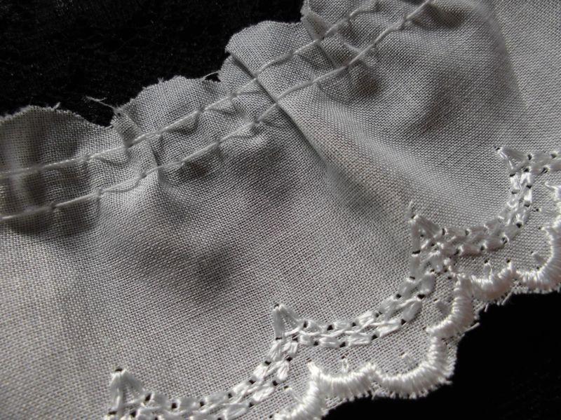 画像2: 幅約4.3c エレガントなオフシロの綿フリル 2.5M