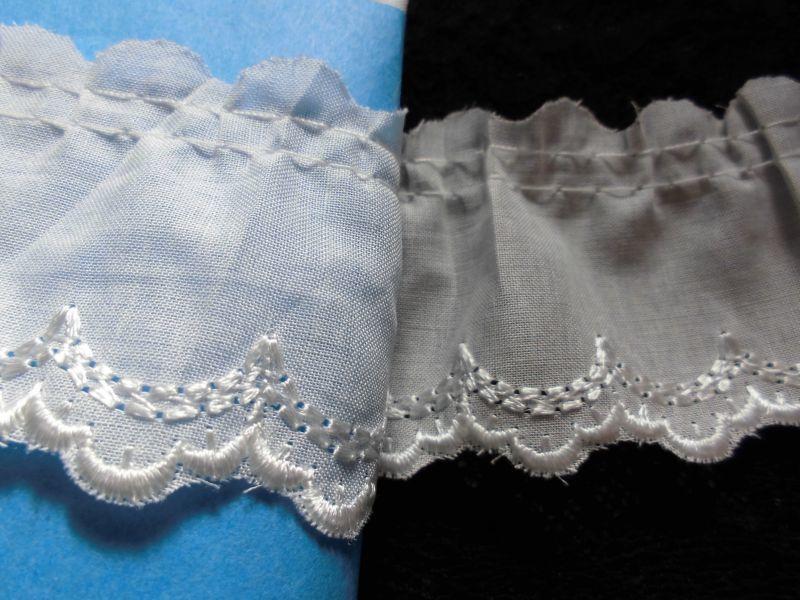 画像1: 幅約4.3c エレガントなオフシロの綿フリル 2.5M