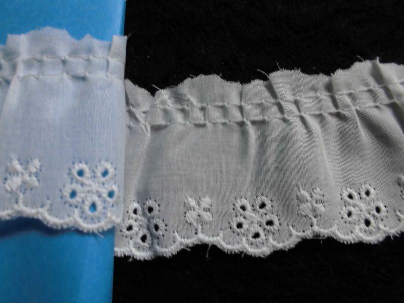 画像1: 幅約4.3c エレガントなオフシロの綿フリル 3M