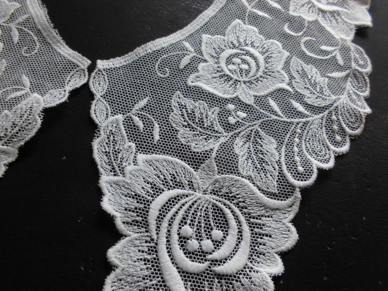 画像3: オフシロのエレガントな綿チュールの高級襟レース 2枚1組