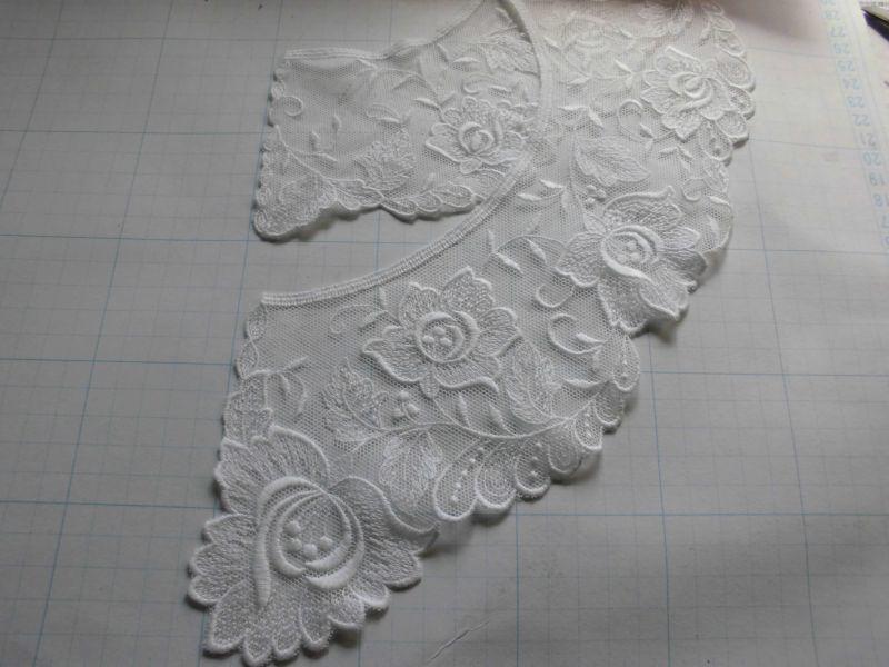 画像4: オフシロのエレガントな綿チュールの高級襟レース 2枚1組