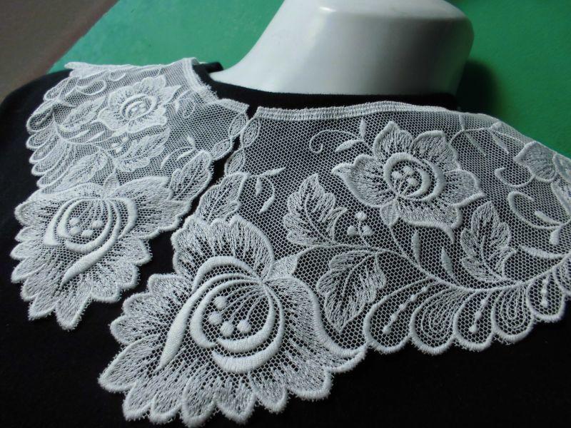 画像1: オフシロのエレガントな綿チュールの高級襟レース 2枚1組