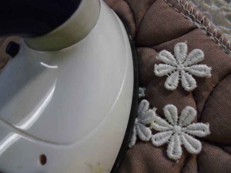 画像1: 手作りマスのアクセントに!アイロン接着! レース工房☆太陽のぴたっとレース 人気の花柄の綿モチーフレース 20枚
