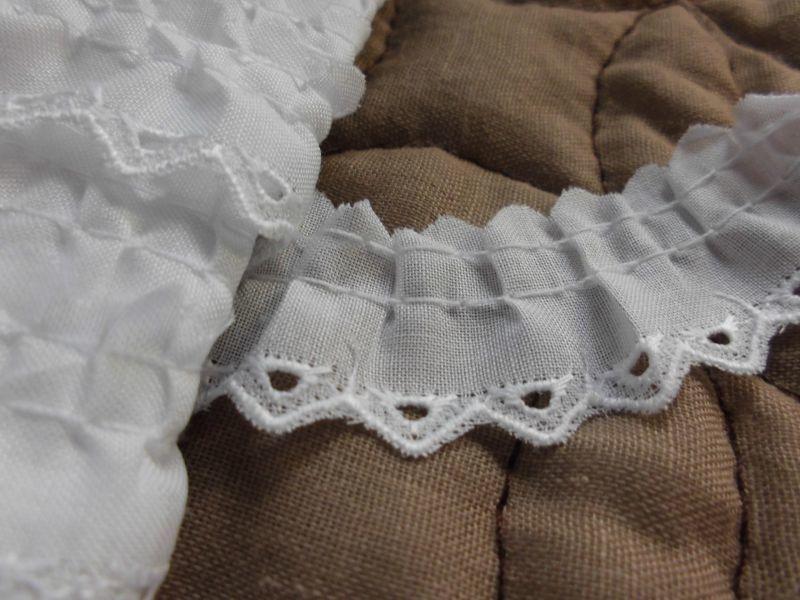 画像1: 幅約2c エレガントなシロの綿フリル 3M