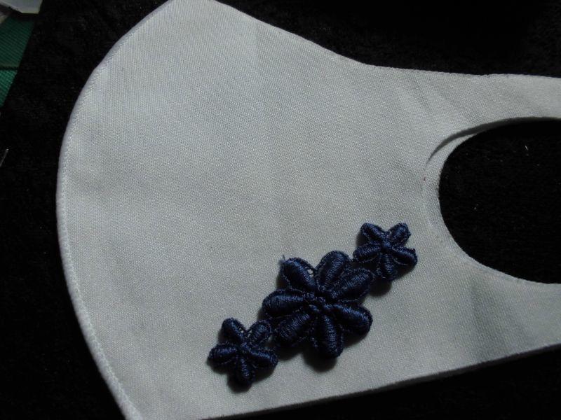 画像2: 手作りのマスクに如何!アイロン接着!レース工房☆太陽のぴたっとレース エレガントな花柄のモチーレース 5枚