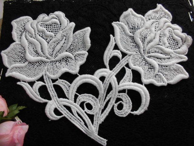 画像2: メッチャエレガントな薔薇柄 人気のコットン・ケミカルのアップリケレース 1枚