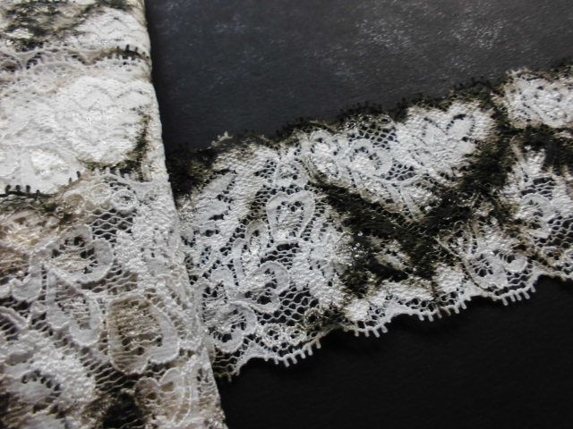 画像1: 幅約6.3c 肌に優しいカラーストレッチレース 濃いチャのムラ染め 5M