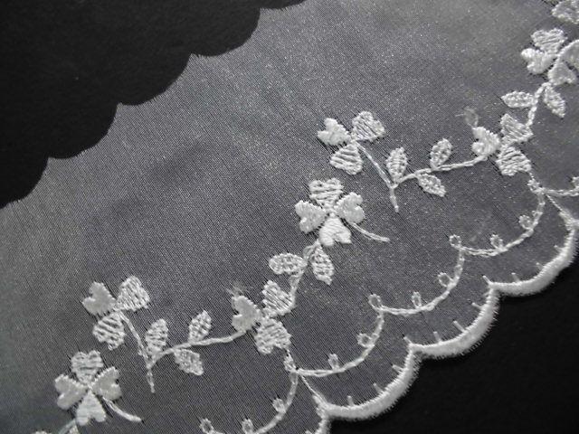 画像1: 幅約7c 人気のオフシロのエレガントな花柄のオーガンジレース 3M