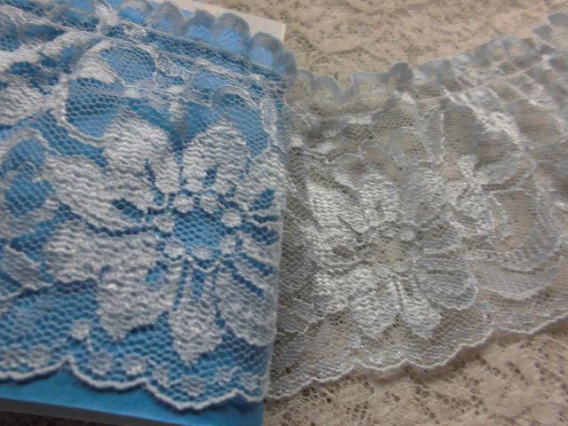 画像1: 幅約7.3c 可愛い人気のブルーのフリル 1.2M