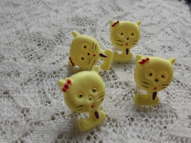 画像1: 在庫処分!高級ボタン 可愛い猫さん柄 4個入り