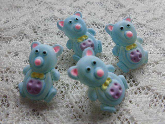 画像1: 在庫処分!高級ボタン 可愛い熊さん柄 4個入り